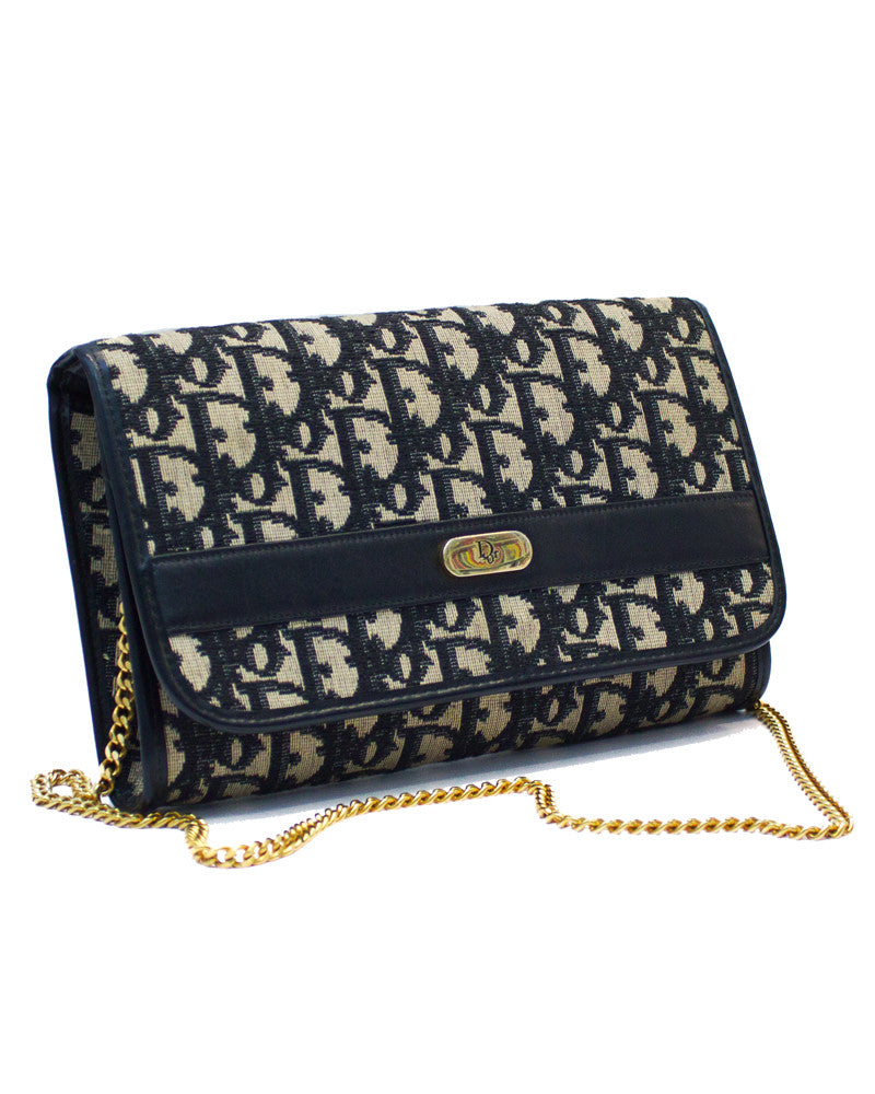 Navy logo clutch bag