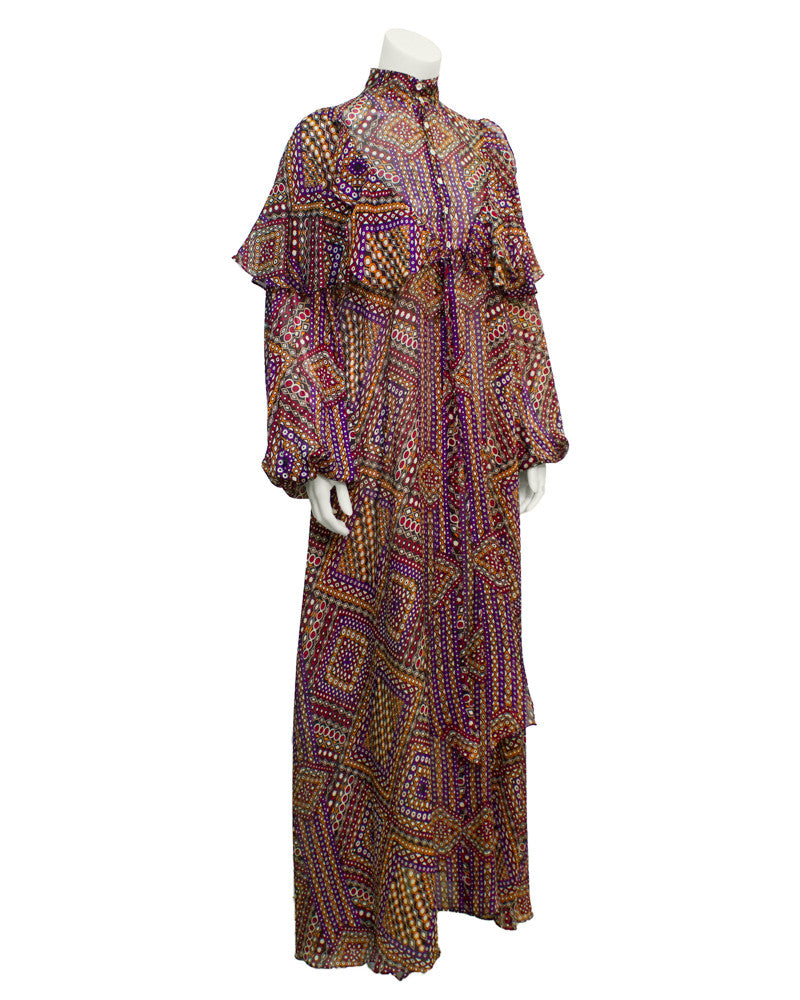 Purple Psychedelic Geo Print Maxi Dress