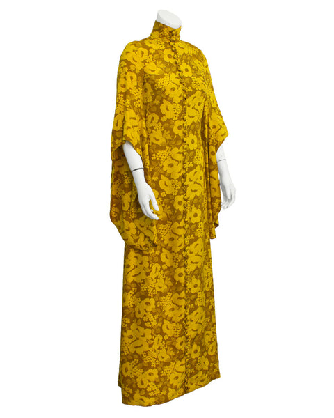 Yellow floral Maxi Dress w Half Angel Sleeves