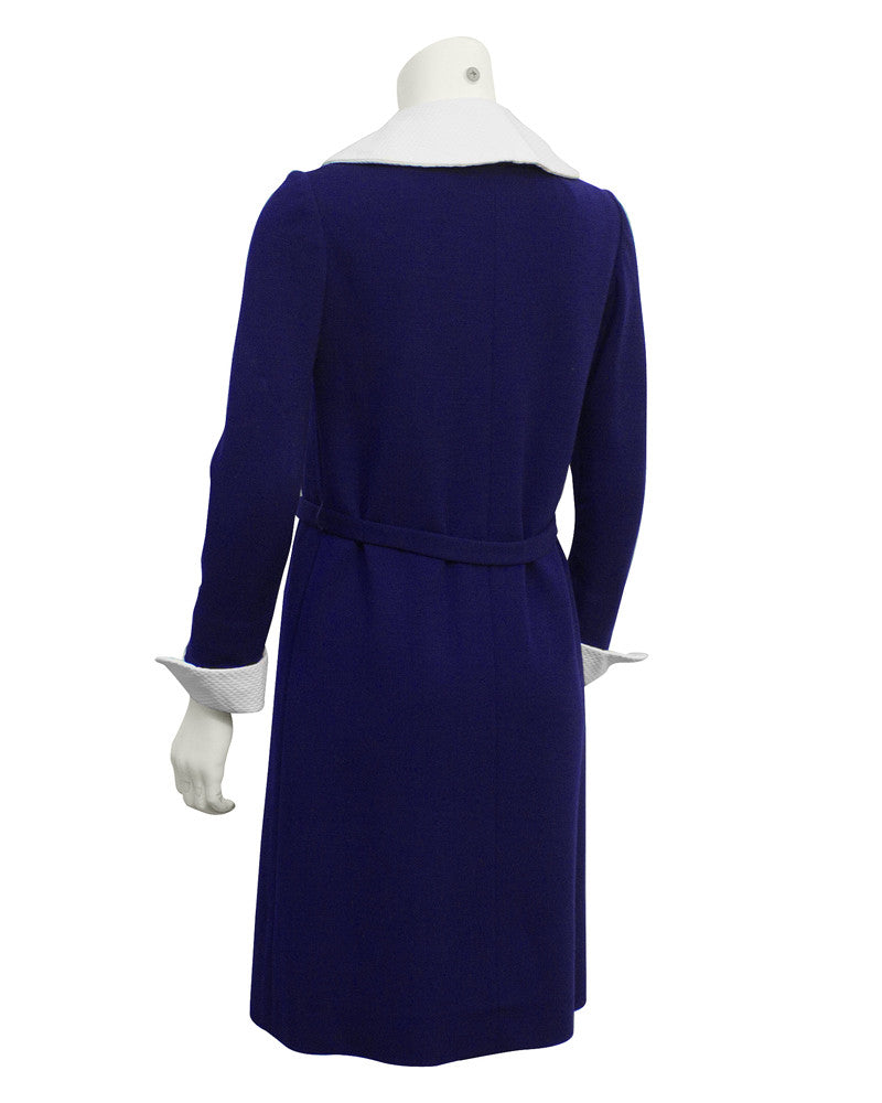 Blue Wool Dress with Detachable White Accents