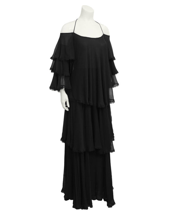 Black Chiffon Tiered Gown