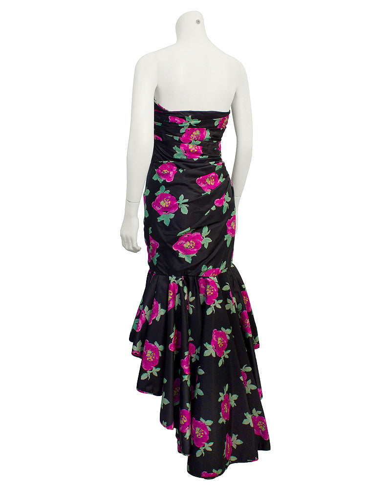 Black Taffeta Strapless Floral Gown