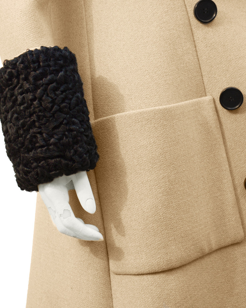 Tan Wool Coat with Fur Collar