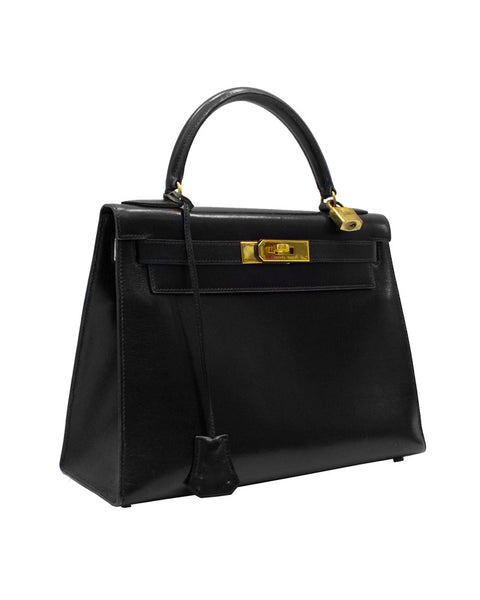 Black box rigid leather 28 cm kelly bag