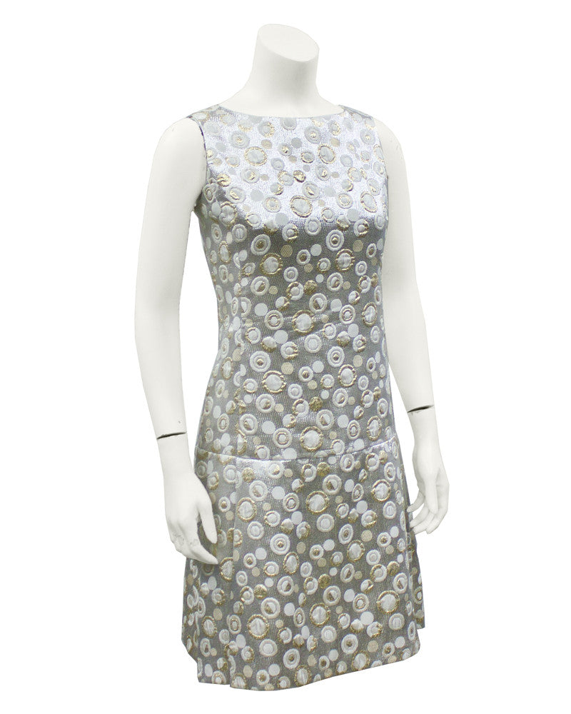 Silver & white brocade drop waist dress