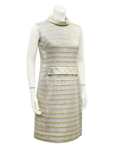 Silver & Gold Brocade Cocktail Dress