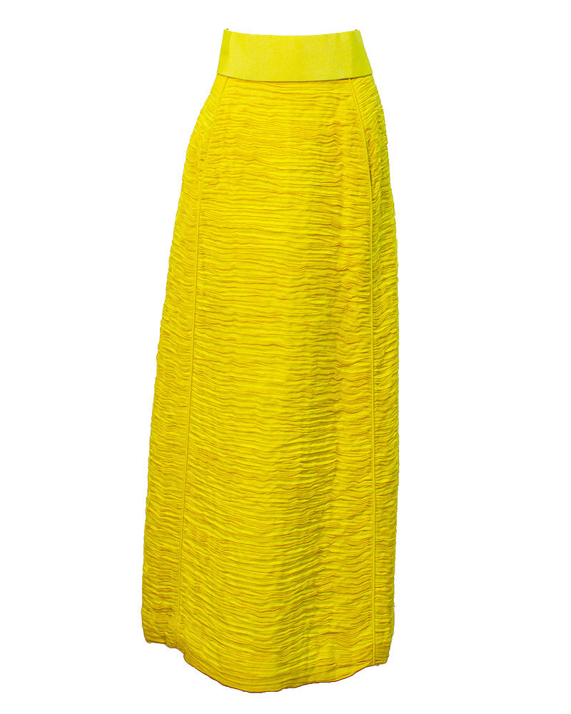Yellow pleated linen skirt & belt