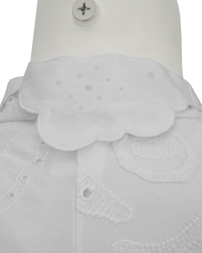 White Eyelet Top With Patterned Belt