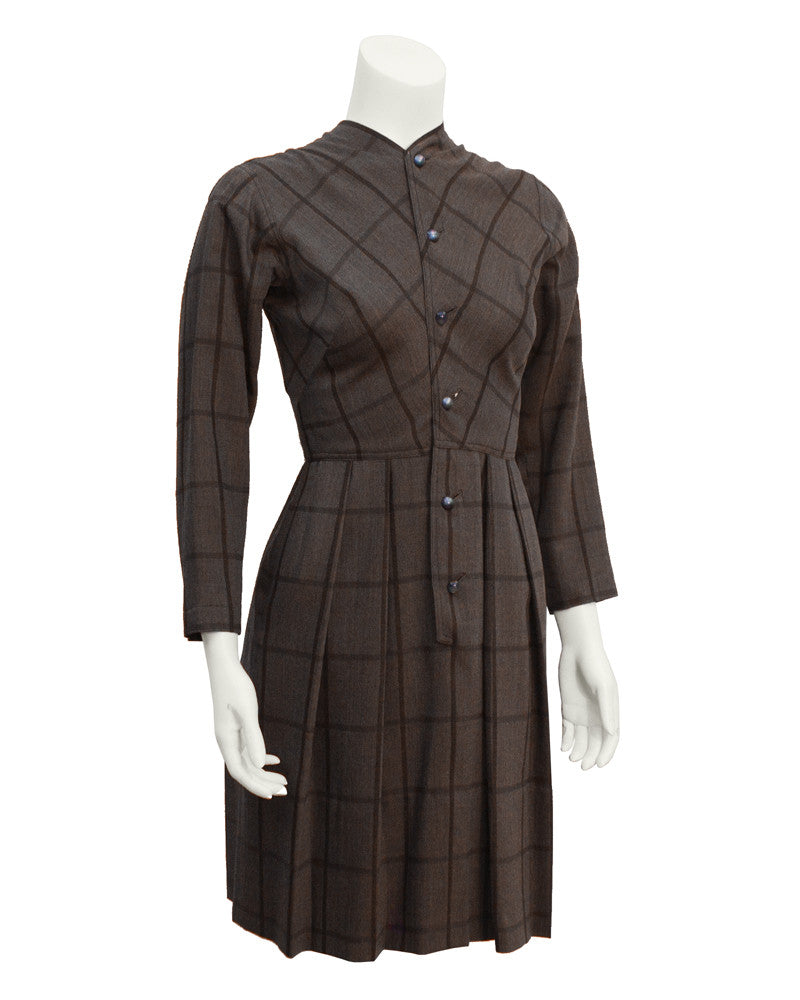 Brown plaid long sleeve day dress