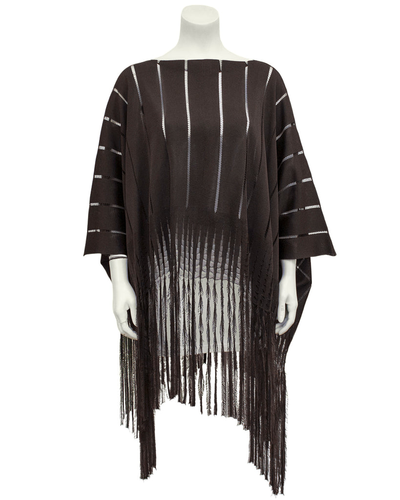Brown Knit Poncho