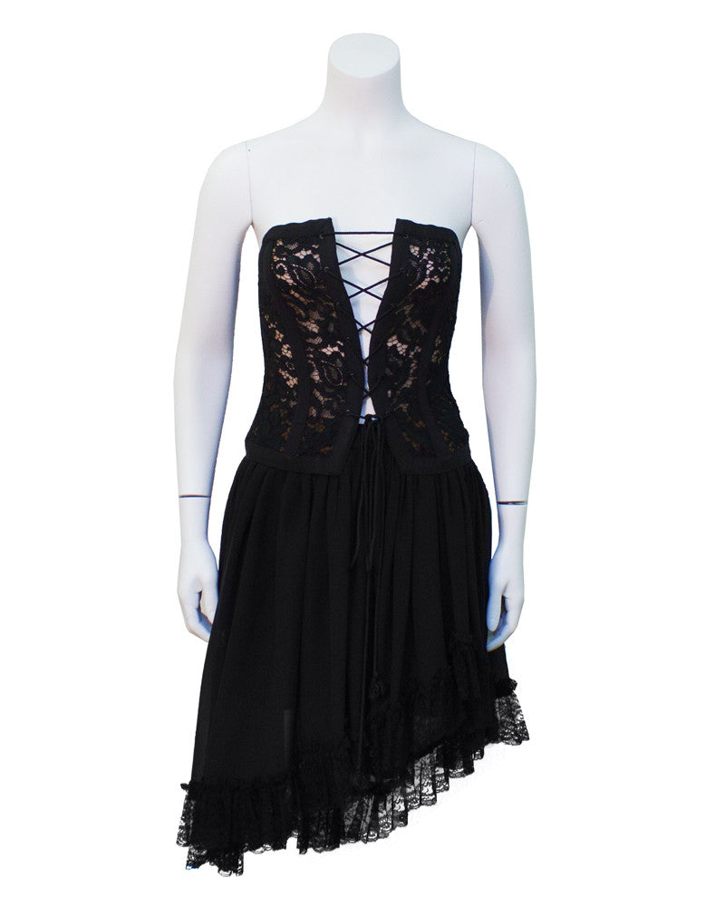 Black lace corset & chiffon skirt