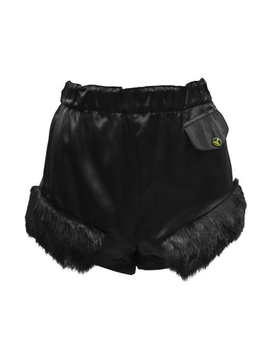 Black satin hot pants with faux fur trim