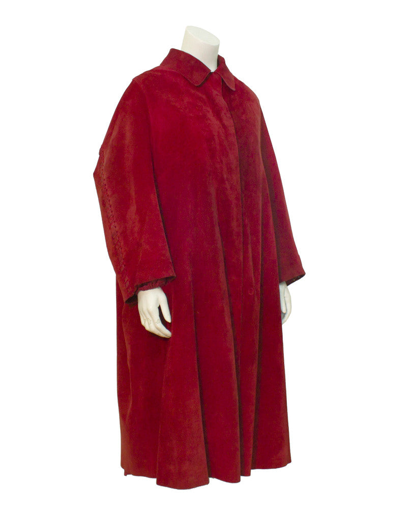 Red Mink Fur Lined Suede Swing Coat