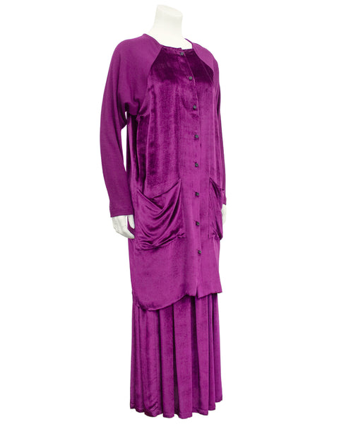 Fuschia Velvet and Wool Jersey Ensemble