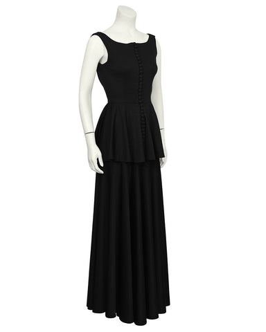 Black Jersey Gown With Peplum