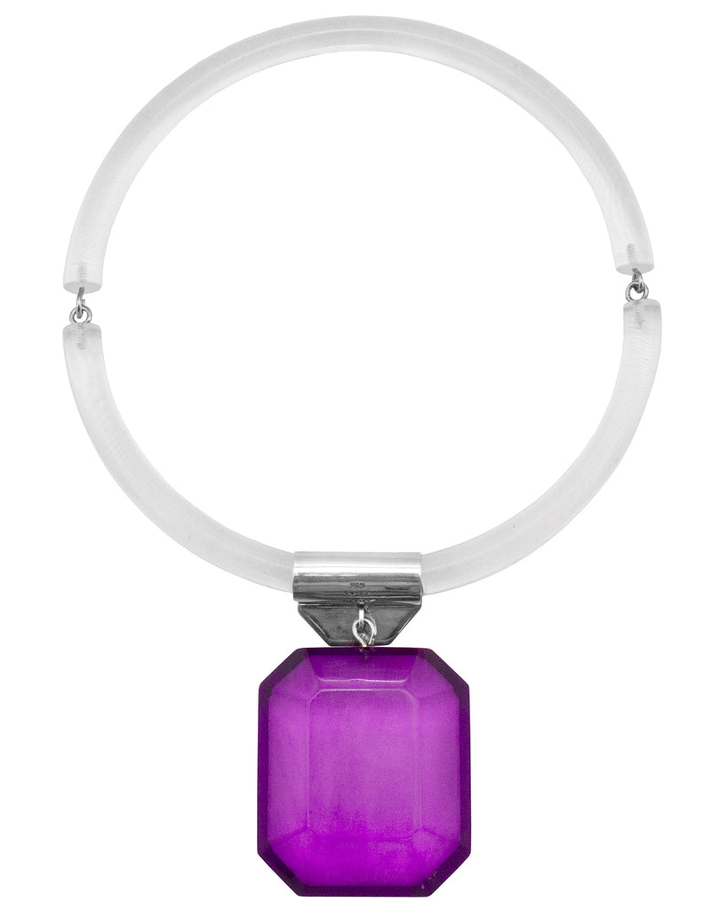 Acrylic Ring Necklace with Purple Pendant