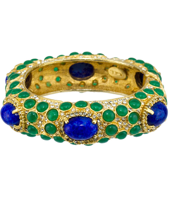 Gold Tone Bangle with Green and Blue Cabochon Stones