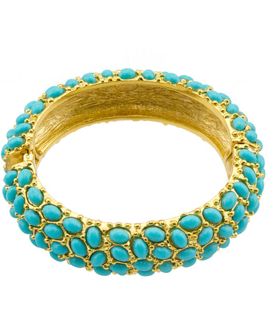 Faux Turquoise Cabachon Encrusted Clamper Bracelet