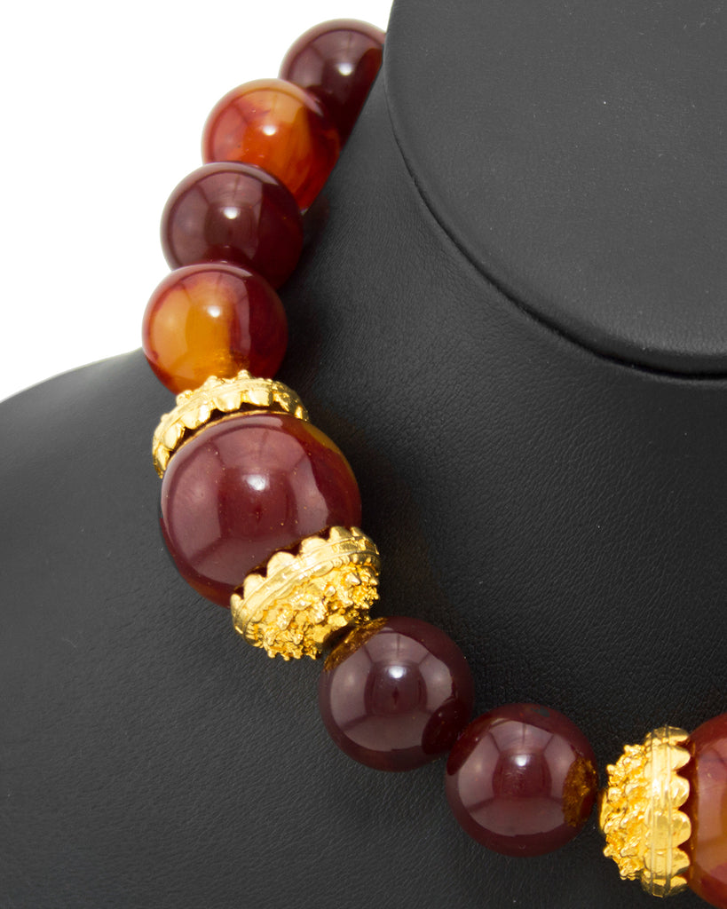 Faux Amber Oversized Bead Necklace