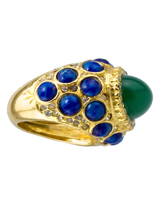 Cocktail Ring with Green and Blue Cabochon Stones