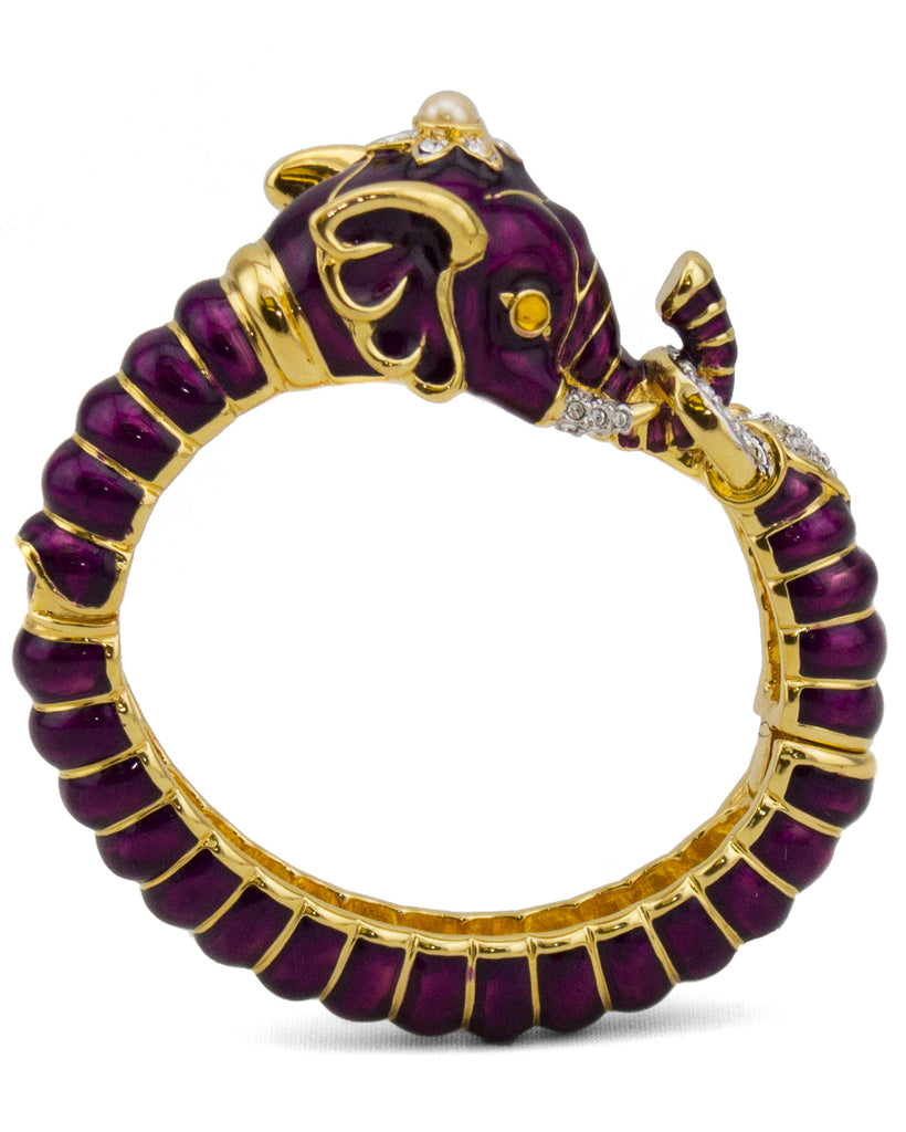 Purple Enamel and Rhinestone Elephant Clamper Bracelet