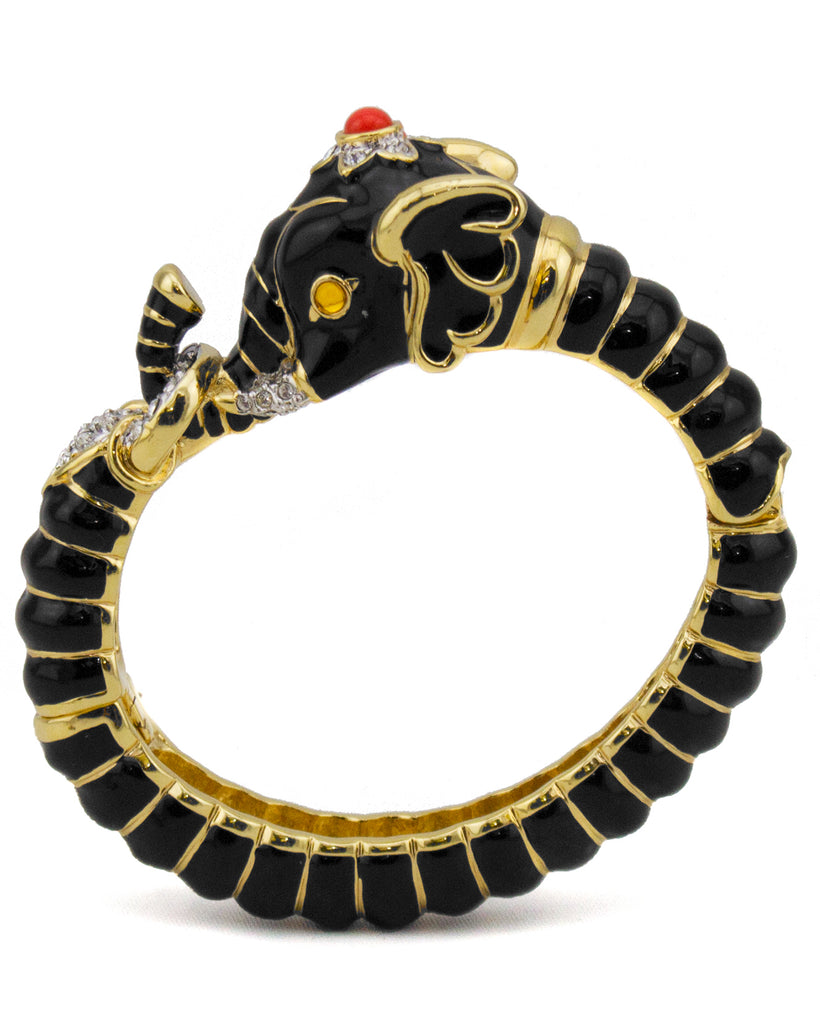 Black Enamel and Rhinestone Elephant Clamper Bracelet