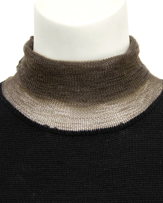 Black and Bronze Knit Short Sleeve Top