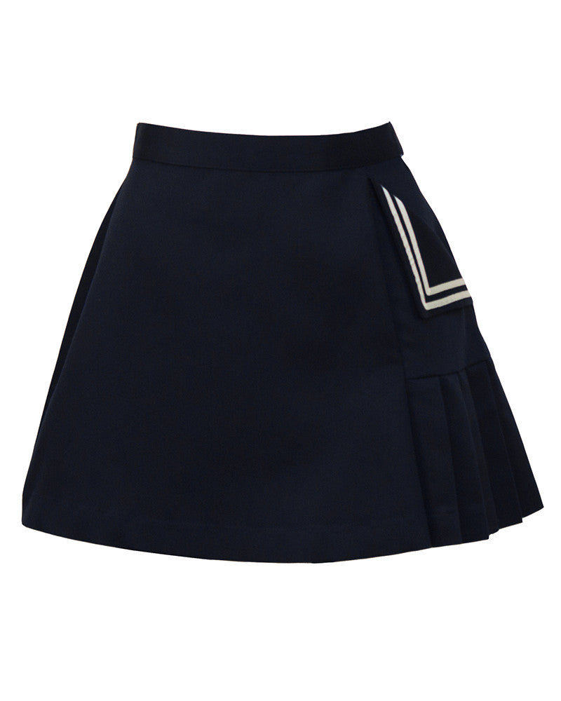 Navy Blue Poly-Cotton Tennis Skirt
