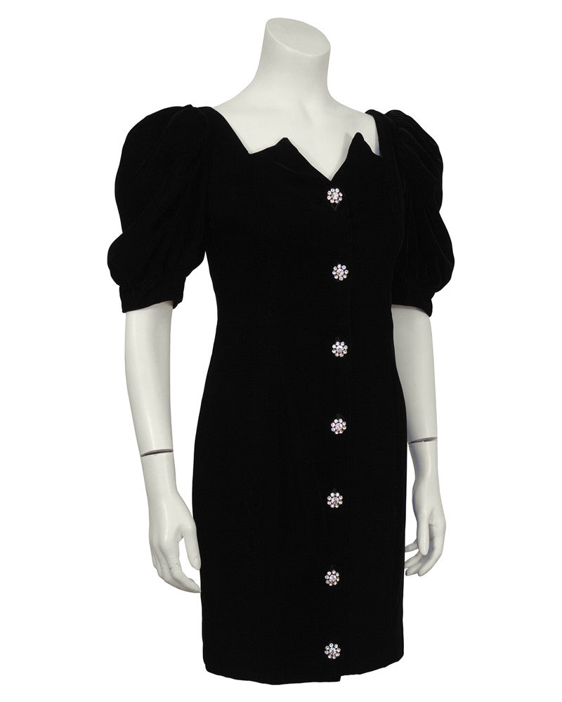 Black Velvet Cocktail Dress with Rhinestone Buttons