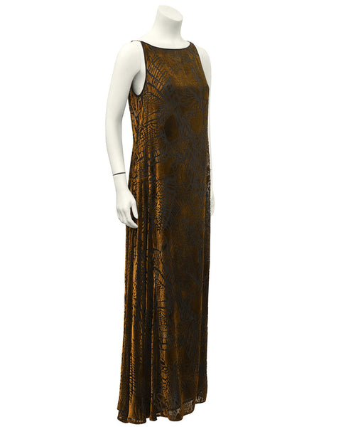 Brown Devoré Sleeveless Dress & Shawl