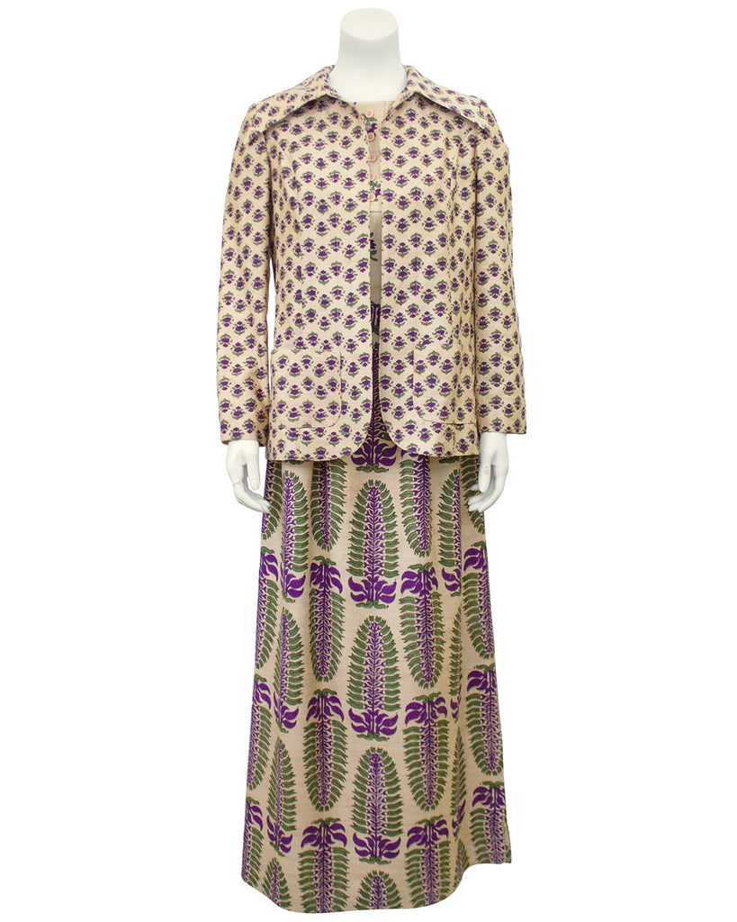 Beige and Purple Raw Shantung Bagh Printed Dress and Jacket