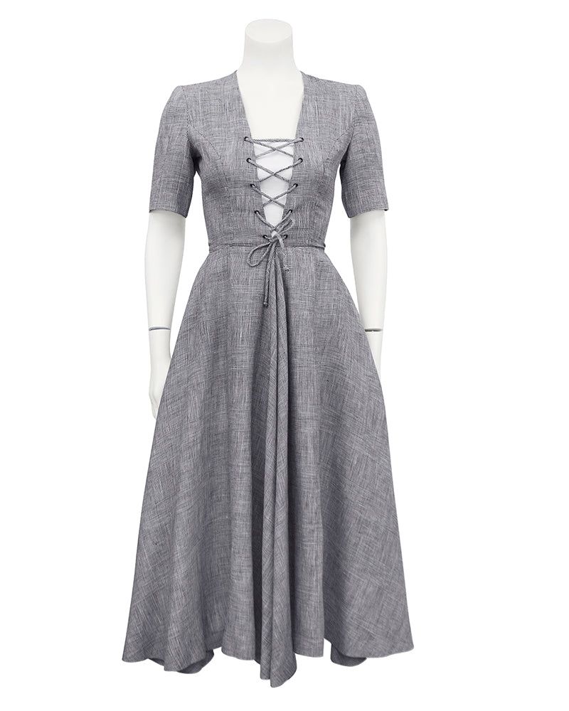 Gray Lace Up Front Day Dress