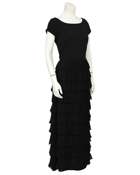 Black Chiffon Tiered Dress