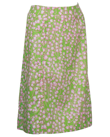 Green and Pink Lily Of The Valley Skirt