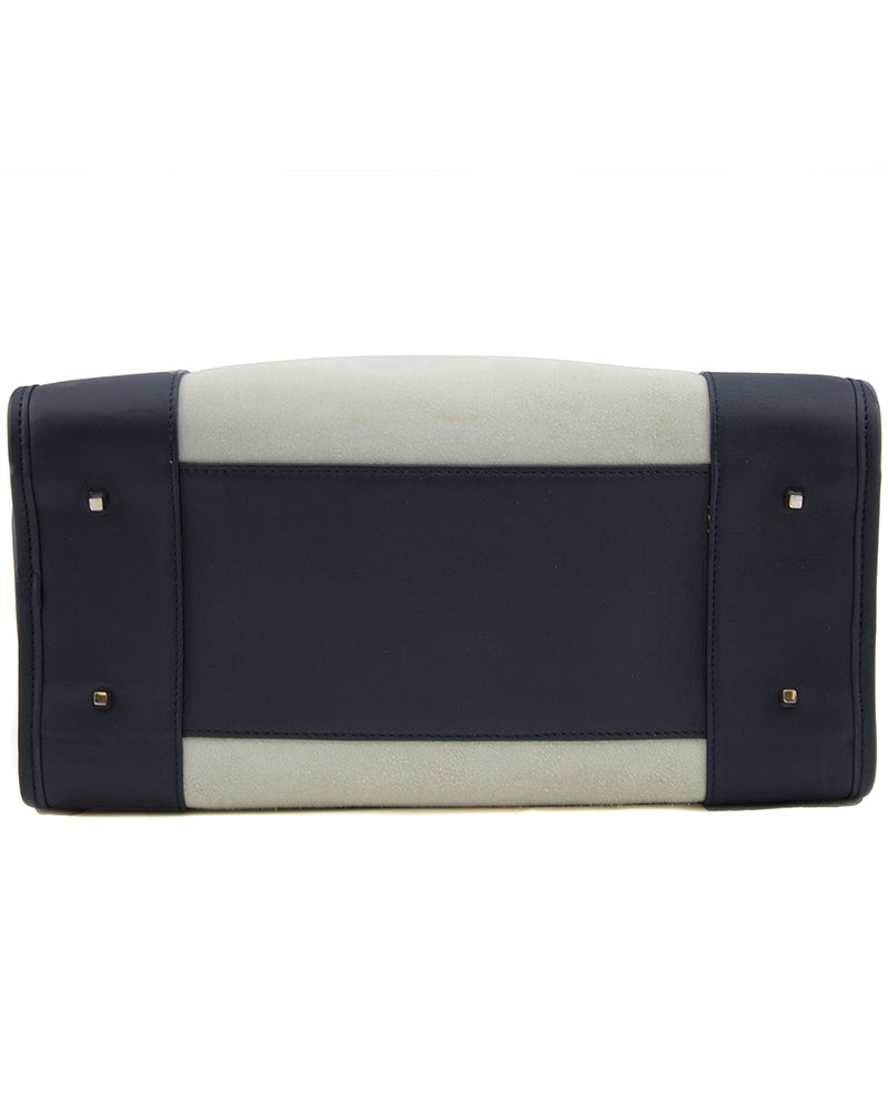 Amazona Bag in Greige Suede and Navy Trim