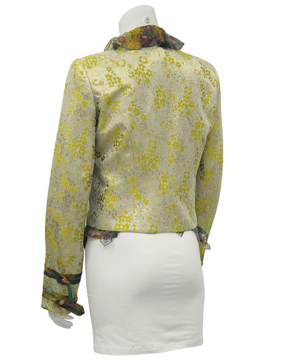 Brocade Jacket with Floral Blouse