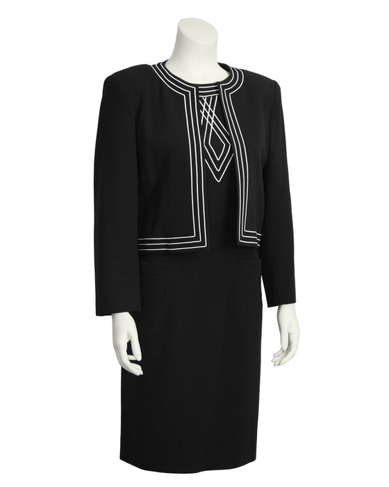 Black Dress and Jacket Set with White Embroidery