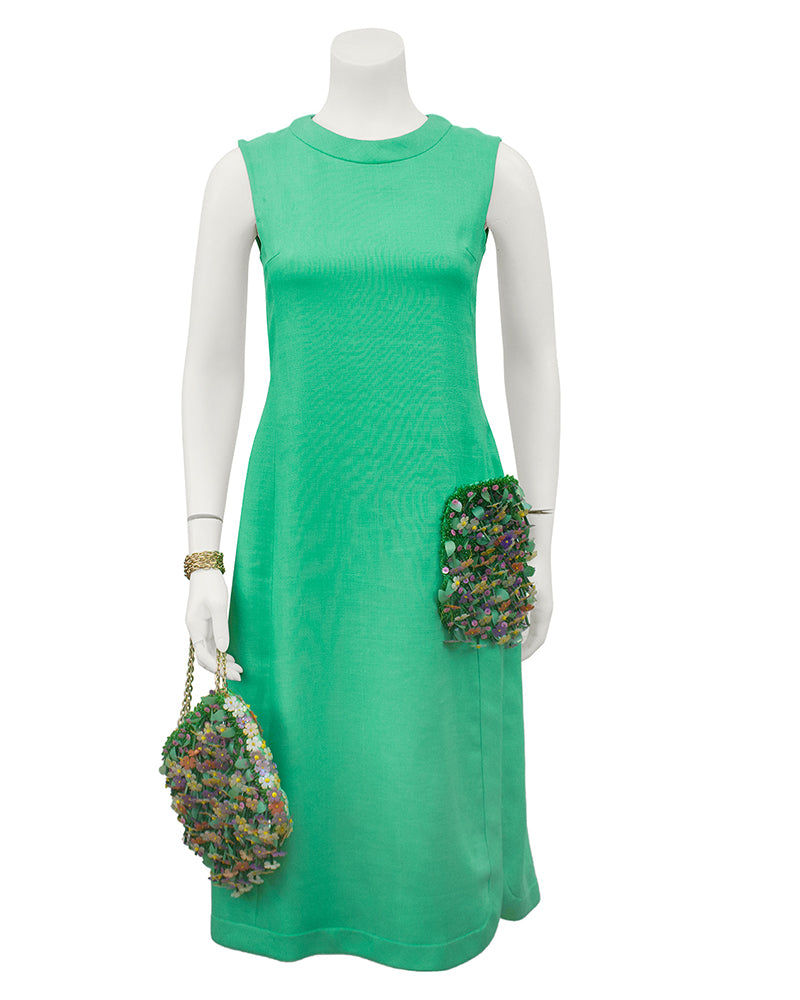 Couture Green Dress with Embellished Pocket and Handbag