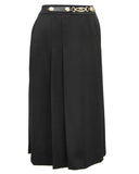 Black Wool Gabardine Pleated Skirt