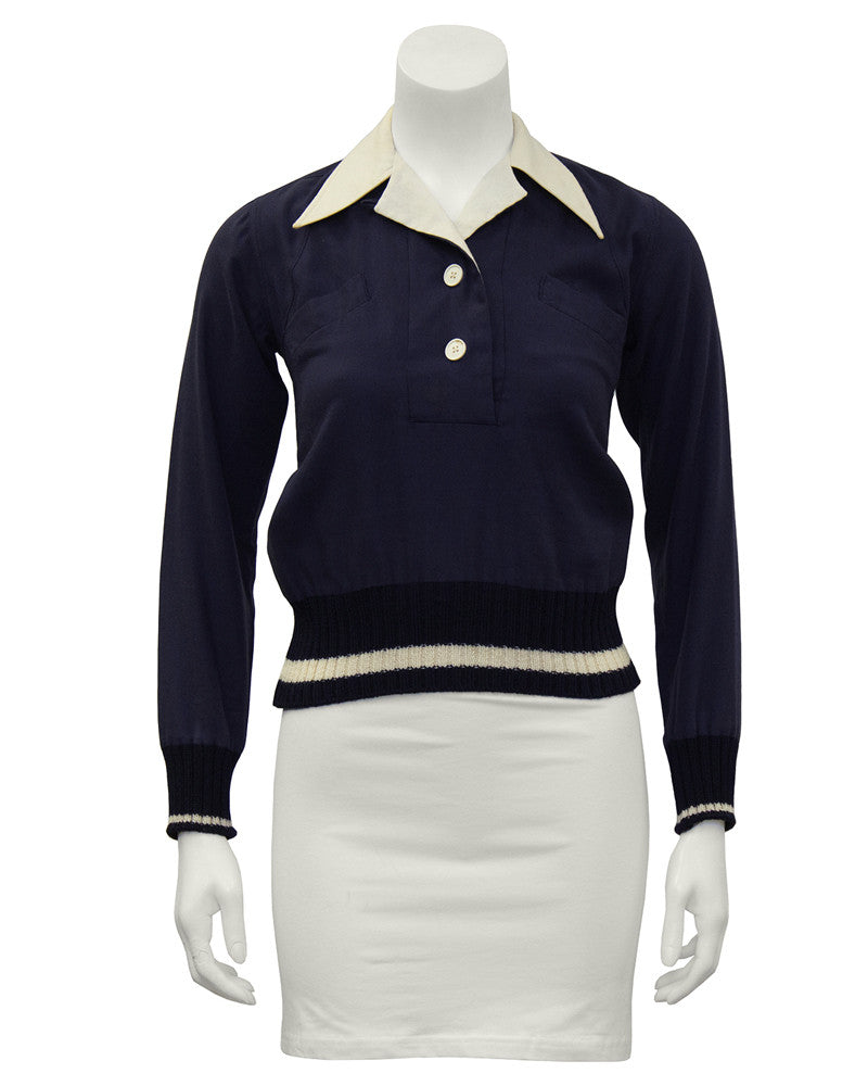 Navy Wool Gabardine Top