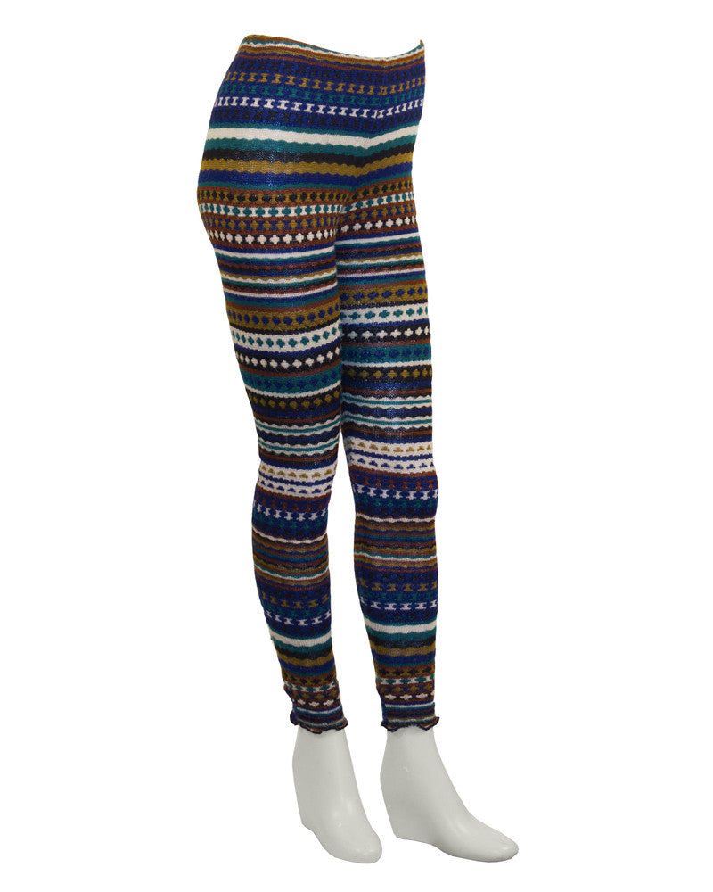 Blue and Olive Knit Striped Legging