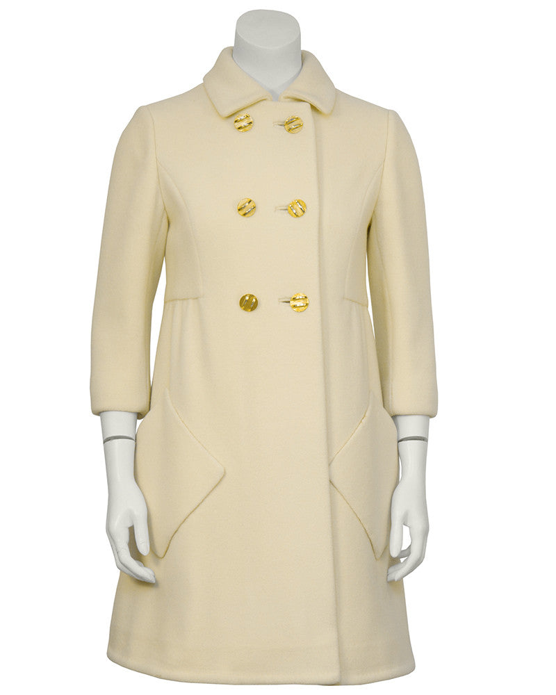 Cream Wool Mod Coat with Gold Buttons