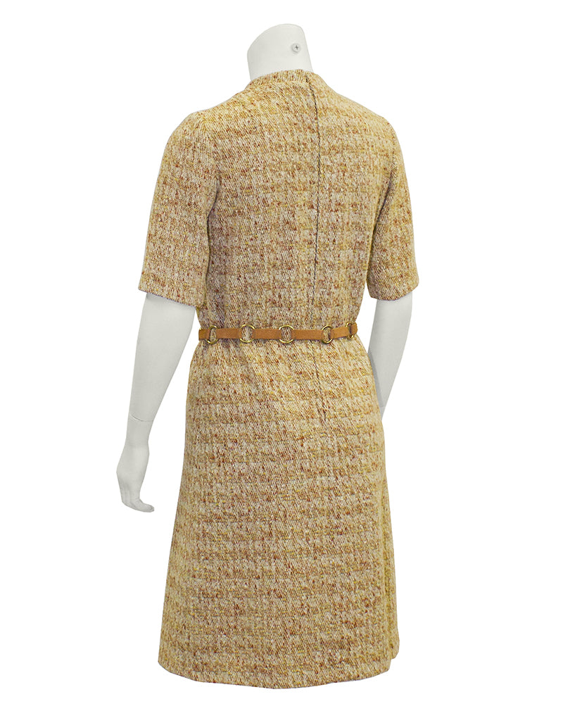 Tan Mod Tweed Dress With  Suede Link Belt