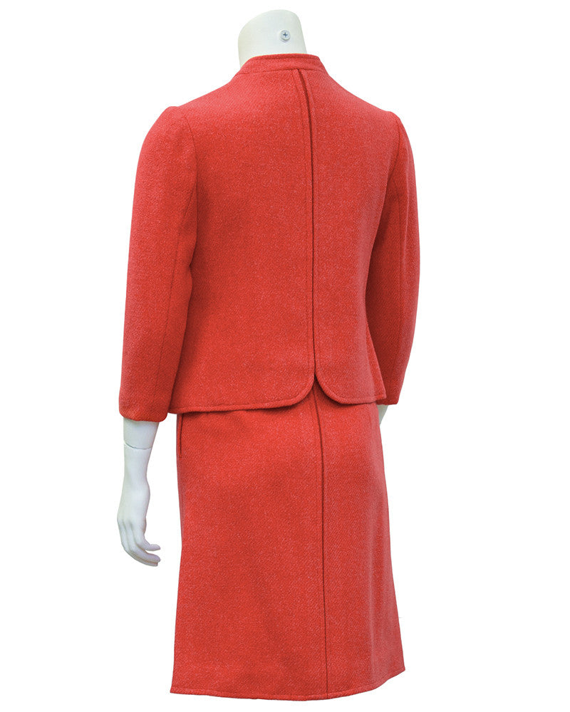 Coral Wool Skirt Suit