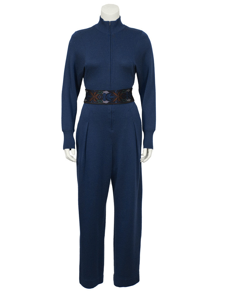 Blue Knit Jumpsuit with Belt/Headband