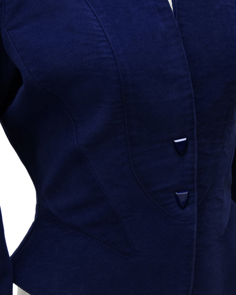 Navy Velvet Jacket with Peplum