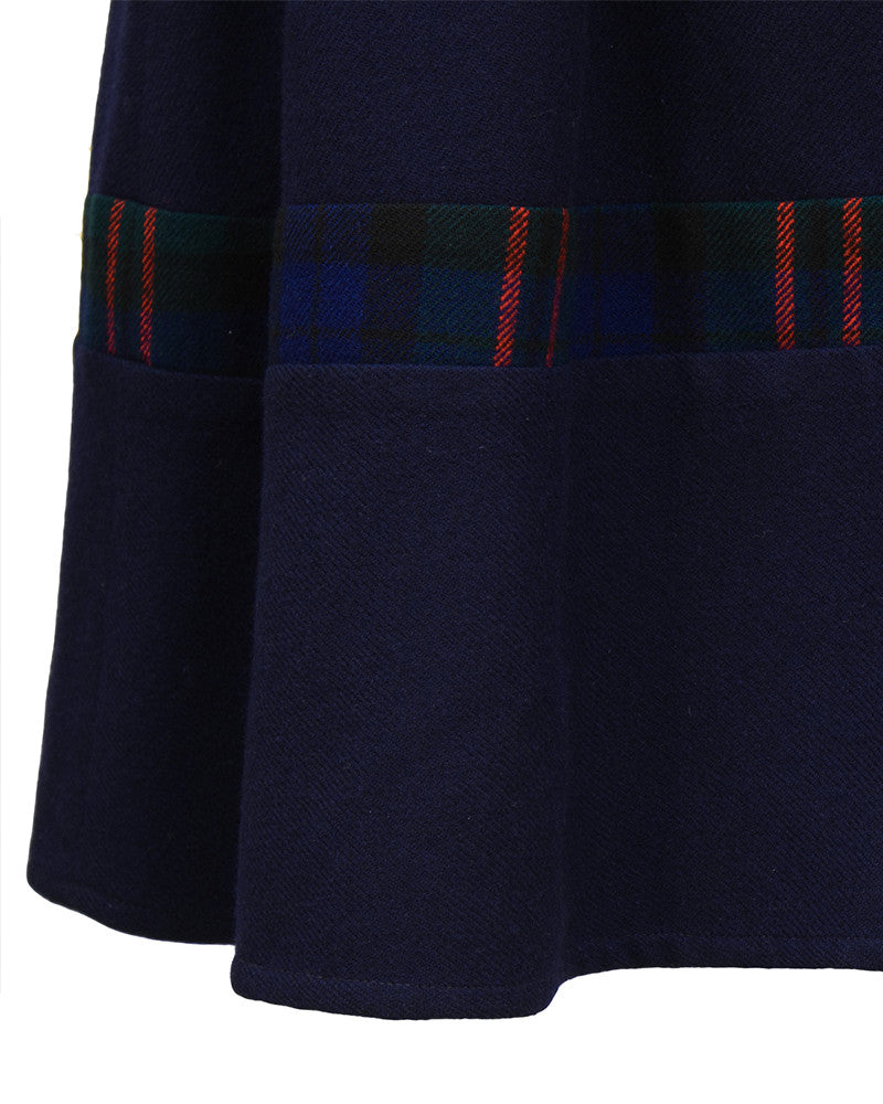 Navy Wool Jumper With Plaid Details