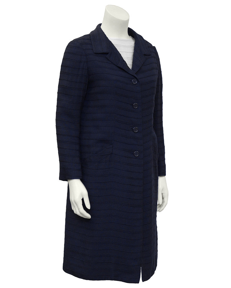 Navy & White Dress and Coat Ensemble