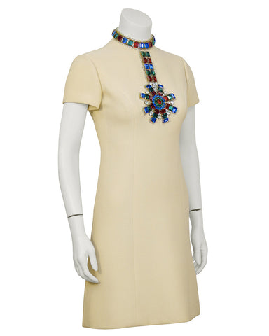 Beige Dress With Large Jewels