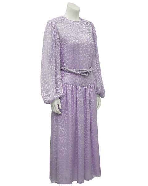 Lavender Chiffon Beaded Evening Dress